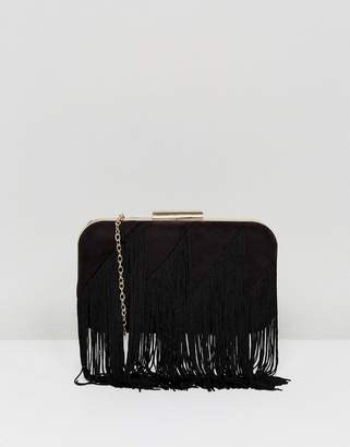 Lavand Fringe Structured Clutch Bag