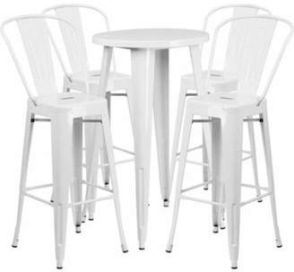 """Flash Furniture 24"""" Round Metal Indoor-Outdoor Bar Table Set with 4 Cafe Barstools, Multiple Colors"""