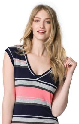 Le Château Women's Stripe Jersey V-Neck Tee,L