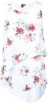 Dorothy Perkins Womens *Izabel London White Floral Print Layered Front Top