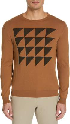Eidos Triangle Pattern Crewneck Cotton & Cashmere Sweater