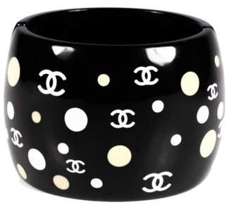 Chanel Plastic Polka Dot CC Wide Black Cuff Bracelet