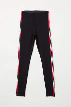 H&M Leggings with Side Stripes - Black