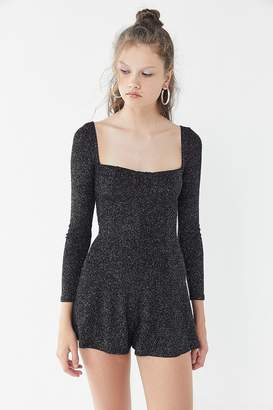 Urban Outfitters Brittany Sparkly Metallic Square-Neck Romper