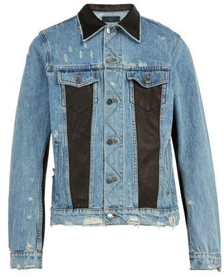 Amiri Leather Panelled Denim Jacket - Mens - Blue