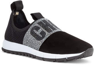 Jimmy Choo Oakland Black Suede Crystal Logo Sneakers