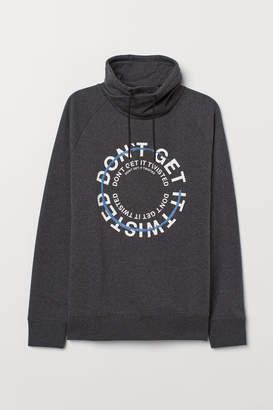 H&M Chimney-collar Sweatshirt - Gray