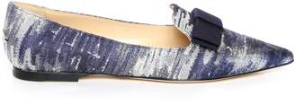 Jimmy Choo GALA Stone Blue Denim Jacquard Pointy Toe Flats