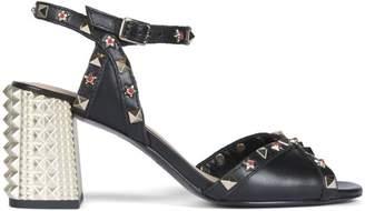Ash Saint Black Leather Studded Sandals