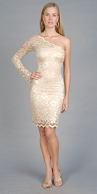 One Shoulder Gold Lace Dresses by Sentimental NY