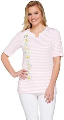 Factory Quacker Daffodil Stripe Elbow Sleeve Split V-neck T-shirt