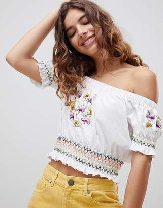 Asos Design DESIGN Off Shoulder Top With Floral Embroidery