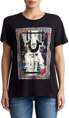 True Religion WOMENS FLORAL CITY GRAPHIC TEE