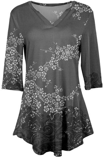 White & Gray Floral V-Neck Tunic - Plus
