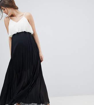 d338acad834 Asos DESIGN Maternity crop top maxi dress in pleated color block