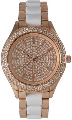 OLIVIA PRATT Olivia Pratt Womens Rhinestone Bezel Rhinestone Dial Rose Whitetwo Tone Bracelet Watch 15295
