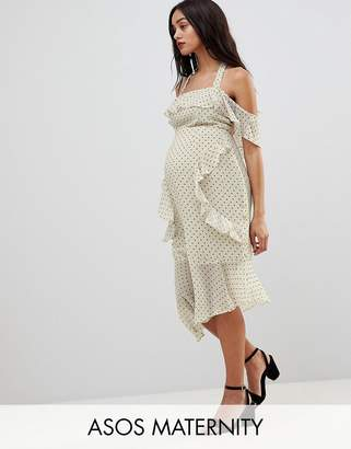 Asos DESIGN Maternity soft pencil midi dress in ruffle spot print