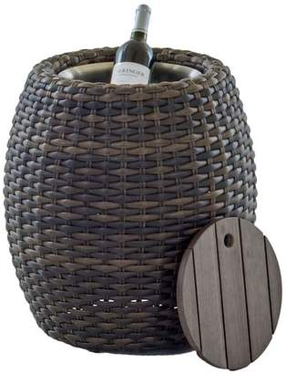 Pottery Barn Abrego All-Weather Wicker Round Accent Table With Ice Bucket