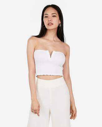 Express One Eleven Smocked V-Wire Tube Top