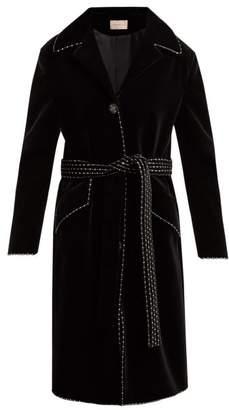 Christopher Kane Dot Dash Single Breasted Velvet Coat - Womens - Black