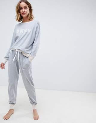 DKNY Long Sleeve Logo Top and Jogger Pajama Set
