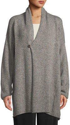 eskandar Shawl-Collar One-Button Cashmere-Knit Slim Cardigan