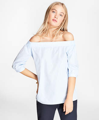 Brooks Brothers Striped Cotton Poplin Off-the-Shoulder Blouse