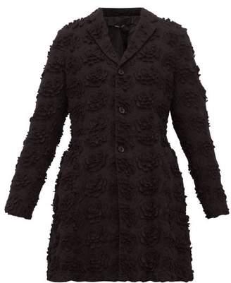 Comme des Garcons Single Breasted Floral Cutout Longline Jacket - Womens - Black