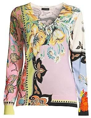 Etro Women's Silk & Cashmere Blend Floral V-Neck Sweater