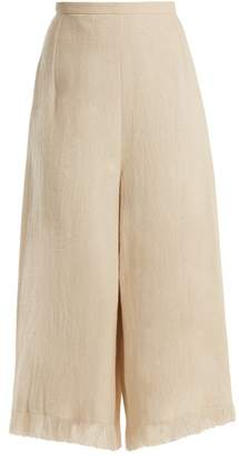 Andrew Gn Wide Leg Frayed Cuff Linen Cropped Trousers - Womens - Beige