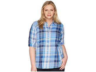 Lauren Ralph Lauren Plus Size Plaid Cotton Twill Shirt Women's Clothing