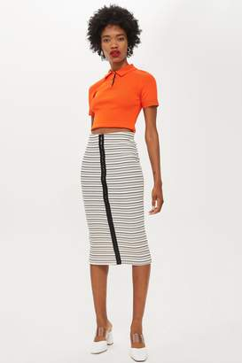 Topshop Hook And Eye Stripe Tube Skirt