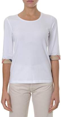 Burberry Stretch T Shirt In Cotton With Checked Lapels
