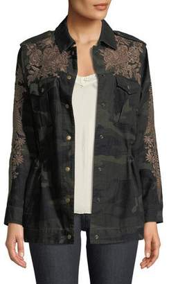 Johnny Was Miloqui Camo-Print Floral-Embroidered Jacket, Petite