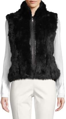 Adrienne Landau Reversible Dyed Rabbit Fur Quilted Vest