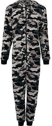 River Island Grey fleece camo print hooded onesie