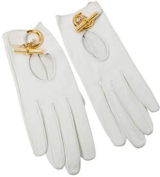 Hermes Vintage White Leather Gloves