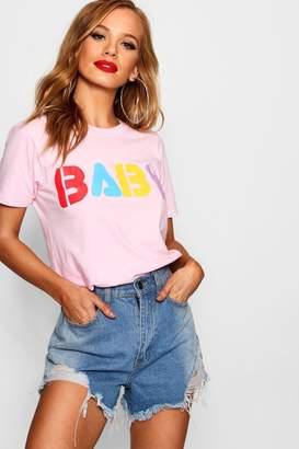 boohoo Petite Baby Slogan T-Shirt