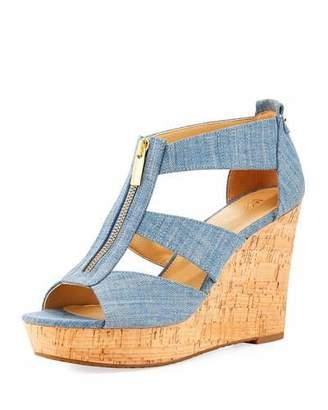 MICHAEL Michael Kors Damita Denim Wedge Sandal, Indigo $99 thestylecure.com