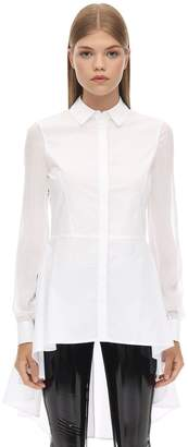 Karl Lagerfeld Paris Cotton Poplin Peplum Tunic Shirt