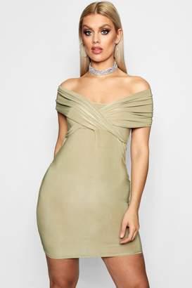 boohoo Plus Off Shoulder Bodycon Dress