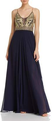 Aqua Embellished-Bodice Gown - 100% Exclusive