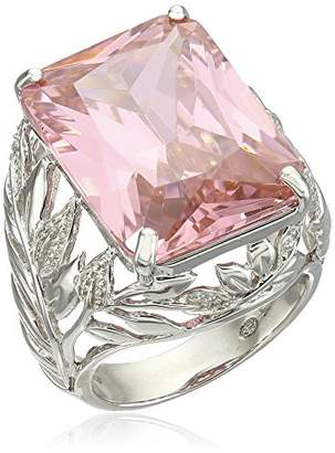 Sterling Silver Emerald Cut Pink Cubic Zirconia Openwork Band Ring