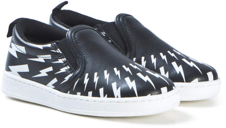Neil Barrett Black with White Lighting Bolts Slip On Trainer