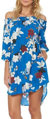 Red Carter Floral Off the Shoulder Cover-Up Dress