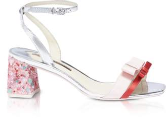 Sophia Webster Red Satin and Pink Leather Andie Mid Heel Sandals