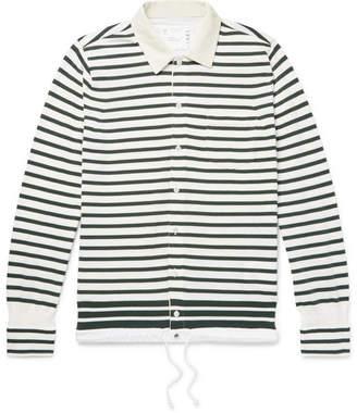 Sacai Shell-Trimmed Striped Cotton Cardigan