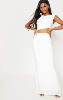 PrettyLittleThing Cream Slinky Ruched Detail Maxi Skirt