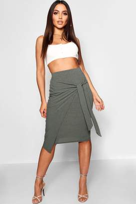 boohoo Ribbed Wrap Tie Midi Skirt