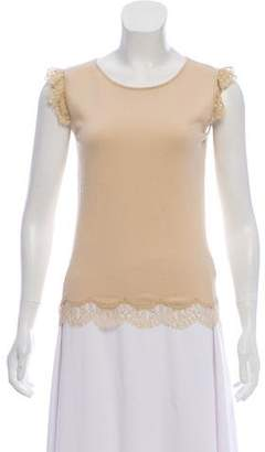 Valentino Sleeveless Lace-Accented Top